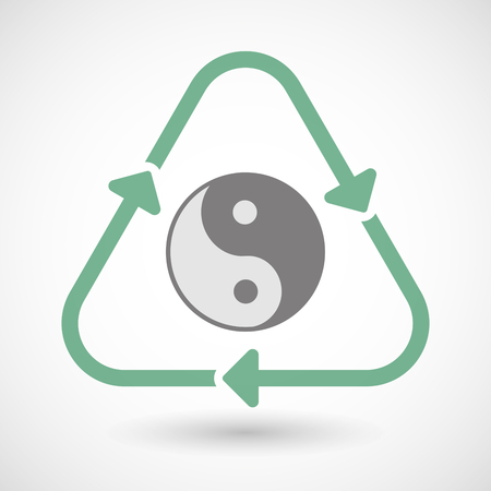 karma concept: Illustration of a line art recycle sign icon with a ying yang