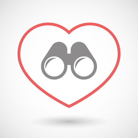 seduce: Illustration of a line hearth icon with a binoculars