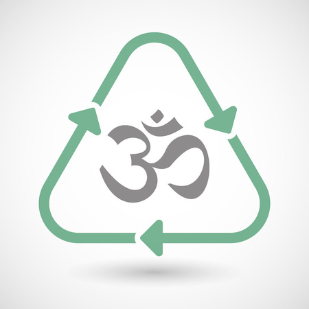 zen aum: Illustration of a line art recycle sign icon with an om sign