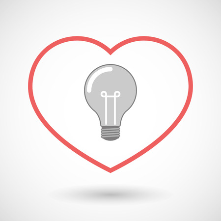 seduction: Illustration of a line heart icon with a light bulb