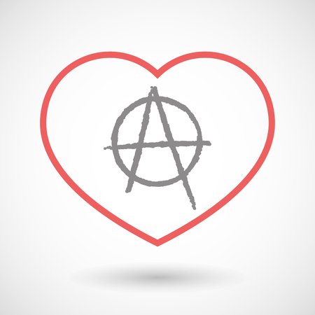 social movement: Illustration of a line hearth icon with an anarchy sign Illustration