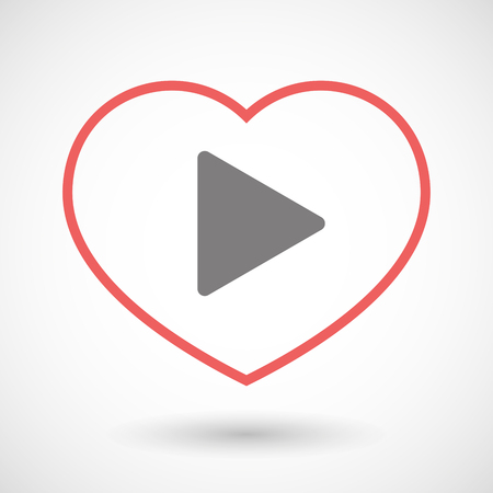 seduce: Illustration of a line heart icon with a play sign