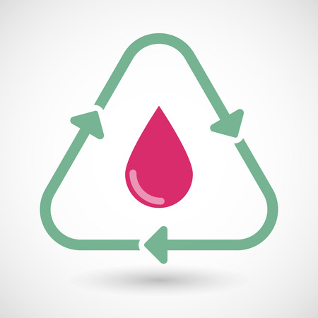 organic fluid: Illustration of a line art recycle sign icon with a blood drop