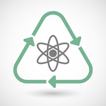 nuclear fusion: Illustration of a line art recycle sign icon with an atom