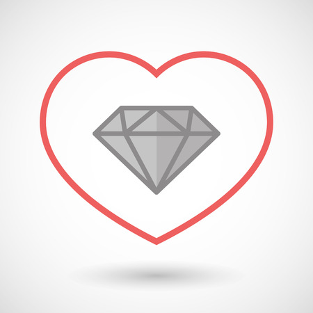 rich couple: Illustration of a line hearth icon with a diamond