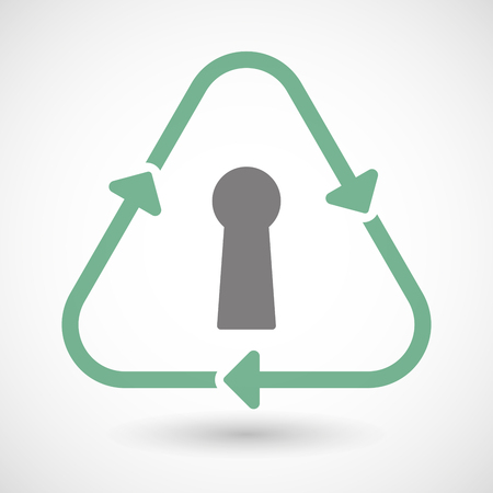 key hole: Illustration of a line art recycle sign icon with a key hole Illustration