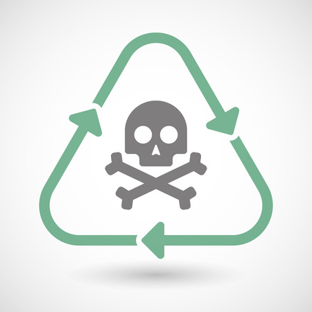 Illustration of a line art recycle sign icon with a skull