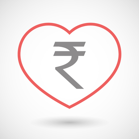 seduction: Illustration of a line hearth icon with a rupee sign