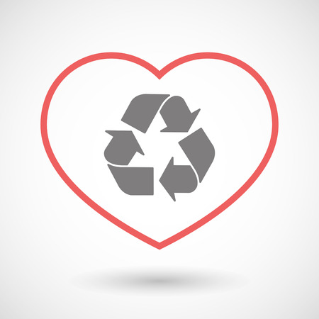 passion  ecology: Illustration of a line heart icon with a recycle sign Illustration