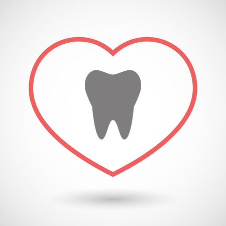 seduction: Illustration of a line heart icon with a tooth
