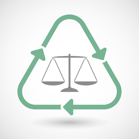 tribunal: Illustration of a line art recycle sign icon with a justice weight scale sign Illustration