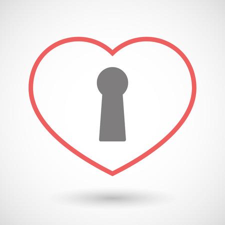 key hole: Illustration of a line heart icon with a key hole