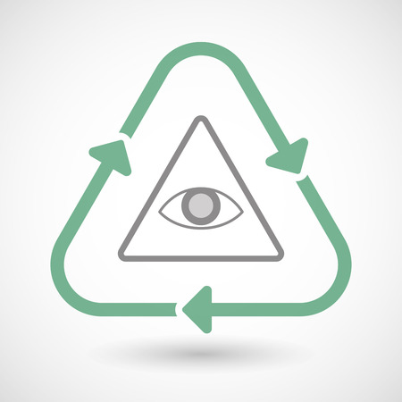 all seeing eye: Illustration of a line art recycle sign icon with an all seeing eye