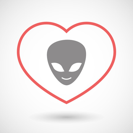 seduce: Illustration of a line hearth icon with an alien face