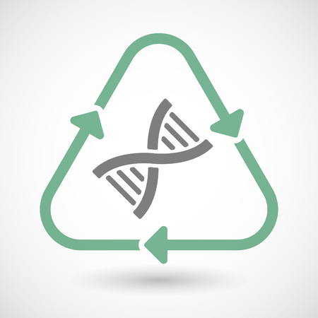 transgenic: Illustration of a line art recycle sign icon with a DNA sign