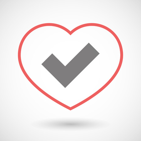 heart health: Illustration of a line heart icon with a check mark Illustration