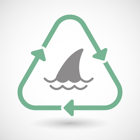 wildlife conservation: Illustration of a line art recycle sign icon with a shark fin