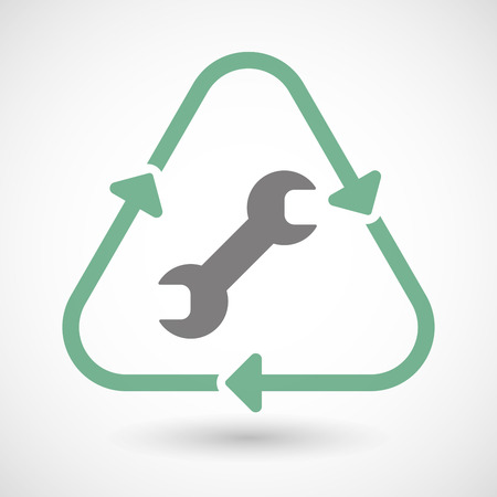 primate biology: Illustration of a line art recycle sign icon with a wrench