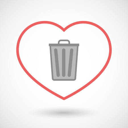 seduce: Illustration of a line hearth icon with a trash can Illustration