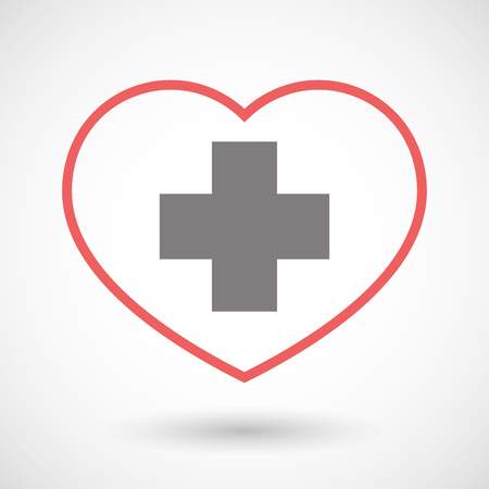 seduction: Illustration of a line heart icon with a pharmacy sign Illustration