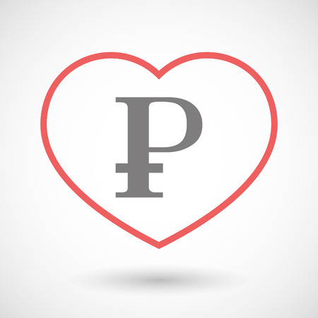 seduce: Illustration of a line heart icon with a ruble sign