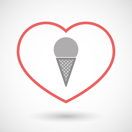 Illustration of a line hearth icon with a cone ice cream