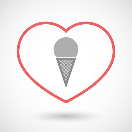 Illustration of a line hearth icon with a cone ice cream