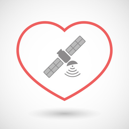 seduction: Illustration of a line hearth icon with a satellite Illustration