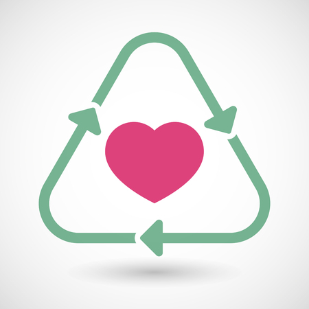 passion ecology: Illustration of a line art recycle sign icon with a heart Illustration