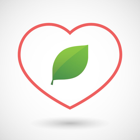passion  ecology: Illustration of a line heart icon with a green  leaf Illustration