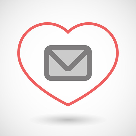 seduce: Illustration of a line heart icon with an envelope