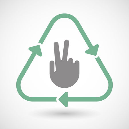 v cycle: Illustration of a line art recycle sign icon with a victory hand