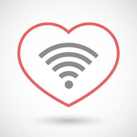 love icon: Illustration of a line hearth icon with a radio signal sign Illustration