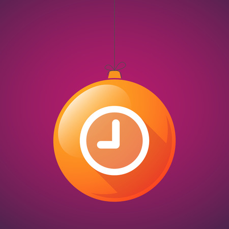 watch new year: Illustration of a long shadow christmas ball icon with a clock Illustration