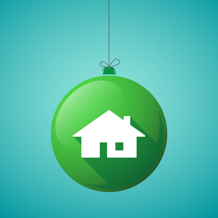 christmas concept: Illustration of a long shadow christmas ball icon with a house