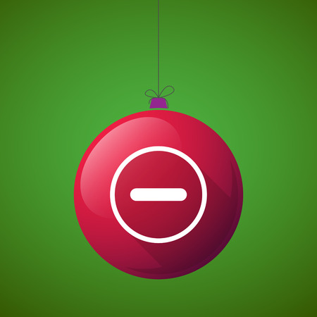 Illustration of a long shadow christmas ball icon with a subtraction sign