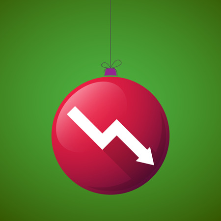 descending: Illustration of a long shadow christmas ball icon with a descending graph