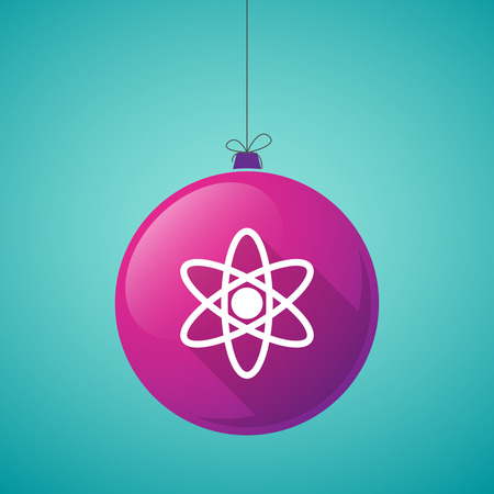 nuclear fusion: Illustration of a long shadow christmas ball icon with an atom