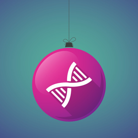 genetically: Illustration of a long shadow christmas ball icon with a DNA sign