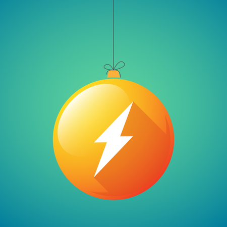 ball lightning: Illustration of a long shadow christmas ball icon with a lightning