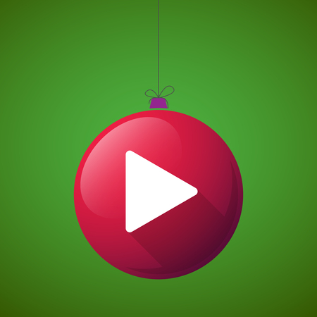 long play: Illustration of a long shadow christmas ball icon with a play sign