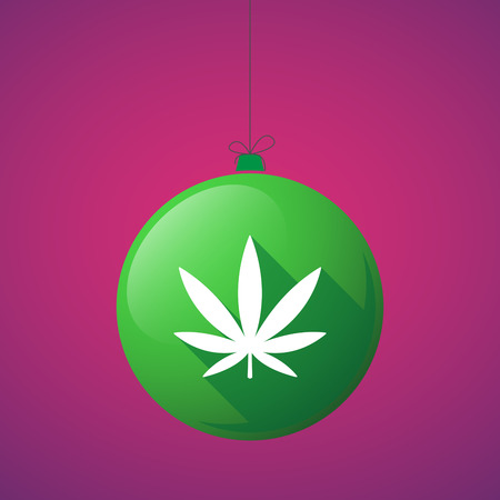 ganja: Illustration of a long shadow christmas ball icon with a marijuana leaf Illustration