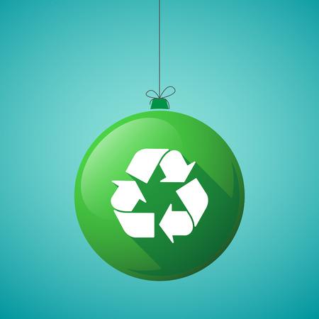 Illustratie van een lange schaduw kerstbal pictogram met een recycle teken Stock Illustratie