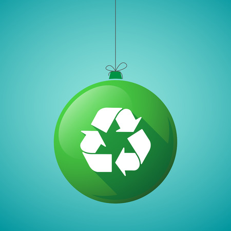 Illustration of a long shadow christmas ball icon with a recycle sign