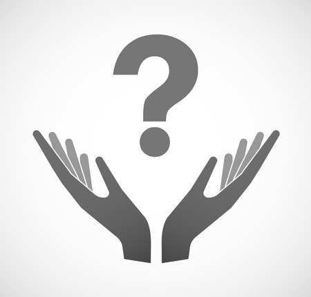provide information: Illustration of two hands offering a question sign