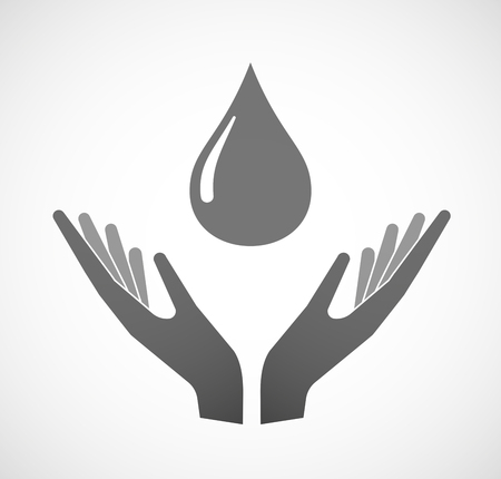 sustain: Illustration of two hands offering a fuel drop