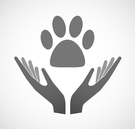 ease: Illustration of two hands offering an animal footprint Illustration