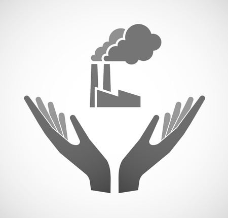 sustain: Illustration of two hands offering a factory