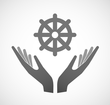 dharma: Illustration of two hands offering a dharma chakra sign Illustration