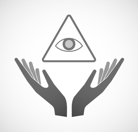 seeing: Illustration of two hands offering an all seeing eye